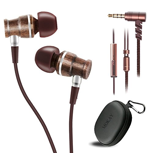 Auriculares, madera en oreja Auriculares, estéreo Bass In-Ear con cancelación Auriculares con micrófono y mando a distancia en línea, funda de transporte (marrón)