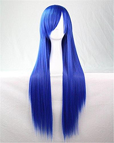 Chiguo Perücke 80cm Langes Glattes Blond Schwarz Braun Rosa Grau Usw Perücke Haar für Damen Frauen Karneval Cosplay Halloween Schaufensterpuppen Mottoparties (Blau) (Blonde Und Blaue Perücke)