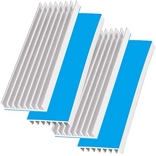 Akuoly 4 Stück Aluminium Kühlkörper Kühlrippen Kühler-Set Heatsink mit Thermoklebeband Kühler Fin für Verstärker Transistor Halbleiter,70mmx22mmx6mm,Silber -