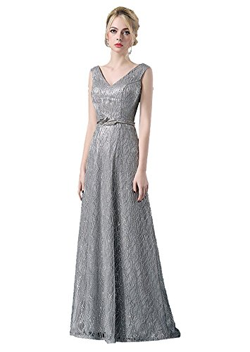 Beauty-Emily Metallgürtel Maxi lange Pailletten-Doppel-V-Hälse Ohne Arm Abend-Kleid Grau