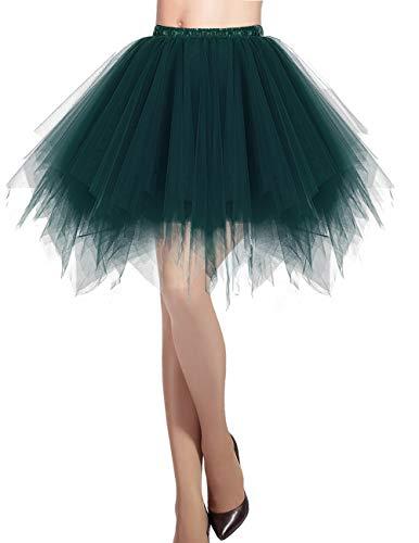 Dresstells Damen Tüllrock 50er Rockabilly Petticoat Tutu Unterrock Kurz Ballett Tanzkleid Ballkleid Abendkleid Gelegenheit Zubehör DarkGreen - Grüne Kostüm Zubehör