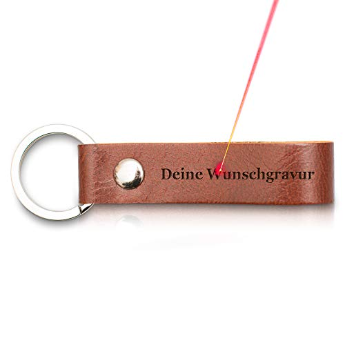 TALED - Premium Schlüsselanhänger aus Leder mit Schlaufe - Eigene persönliche Wunschgravur - Inklusive Stoffsäckchen als Geschenk - Jetzt anpassen -