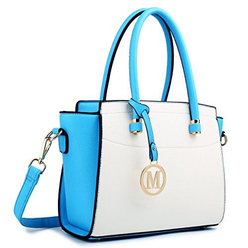 Miss Lulu Damen Schultertasche M, Mehrfarbig - Blau/Weiß - Größe: Medium (Medium Bag Handtasche Tote)