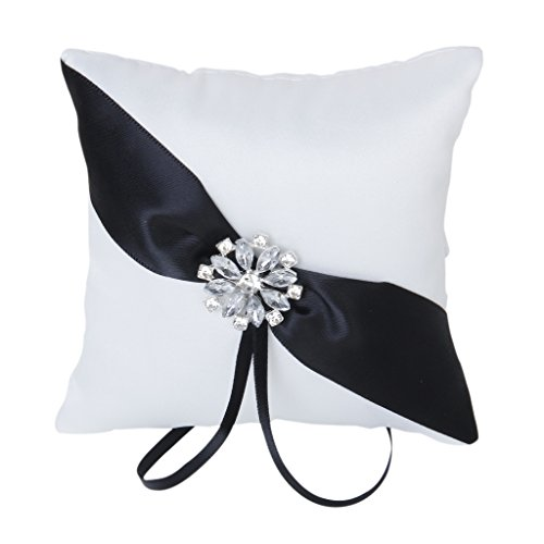 Satin Rhinestone Flower Wedding Ring Pillow Cushion Bearer 10 x 10cm---White and Black
