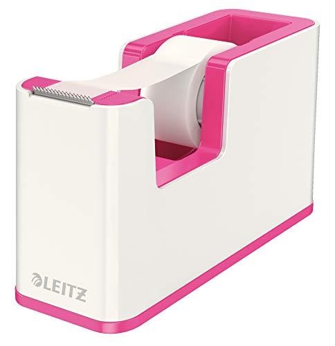 Leitz, Klebeband-Tischabroller, Fester Stand, Inkl. Kleberollen, Weiß/Metallic Pink, WOW, 53641023