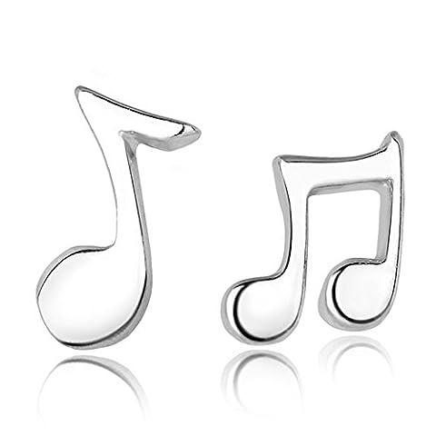 Double FNT en argent sterling Lune Surface poli Boucles d'oreilles clous Notes de musique
