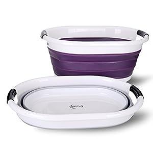 yoouu Premium - Wäschekorb, faltbar und wasserdicht   moderner Wäschesammler in 3 stylischen Farben   Maße (LxBxH) 62,5 x 45,0 x 27,0 cm (H: 6,5 cm gefaltet)   Wäschebox (lila)