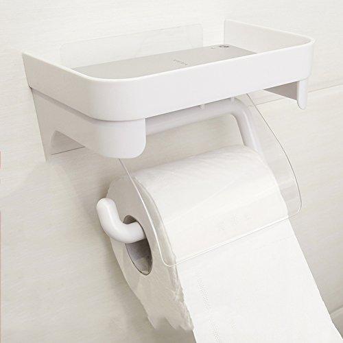 Wc-papier-halter Lufterfrischer (TY&WJ Gewebe Toilettenpapierhalter Punch-frei Wandhalterung Gewebe-halter Seidenpapier roll Dispenser Handy-halter-Weiß 18.5x12.5x9.5cm(7x5x4inch))