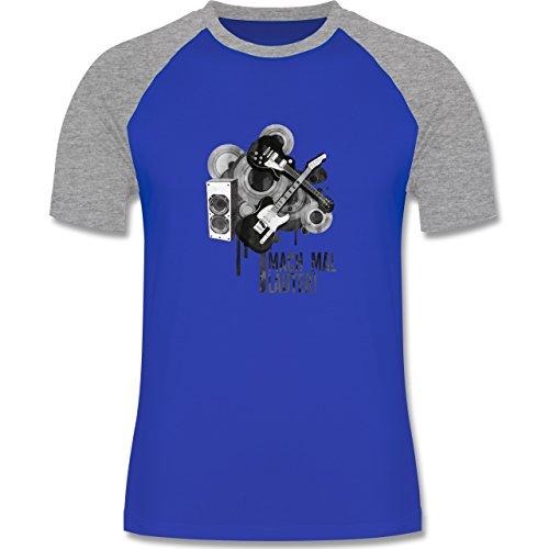 Statement Shirts - Mach mal lauter! - zweifarbiges Baseballshirt für Männer Royalblau/Grau meliert