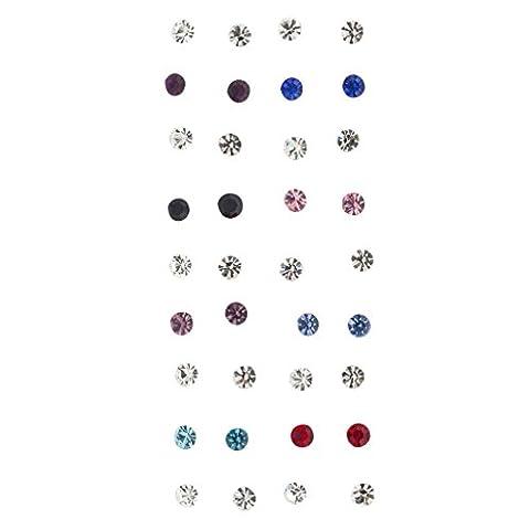 Lux Accessoires Multi Couleur pierre Solitaire clouté Lot Multi Ensemble de boucles d'oreilles 18PC