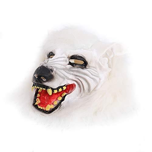 Cosanter Halloween Horror Latex Maske Kopfbedeckung Streich Requisiten Make-up Party Kostüm (Weiß Wolf Kopf Muster)