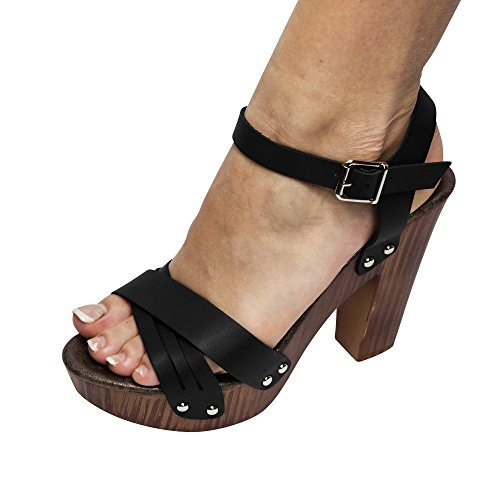 Damen Sandalen Pantoletten High Heels Gogo Sandaletten ST66 Schwarz to8xISvn