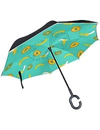 Mnsruu Paraguas invertido de Doble Capa con patrón de plátano Kiwi, Paraguas Plegable Resistente al