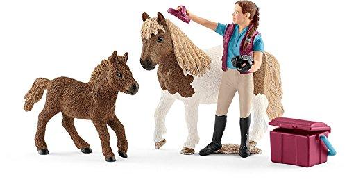 Schleich 42362 - Pferdepflegerin mit Shettys Figur
