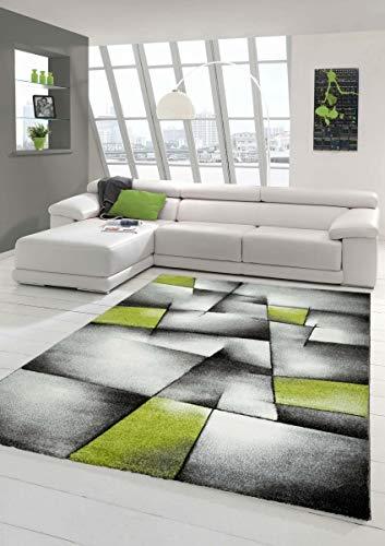 Designer Teppich Moderner Teppich Wohnzimmer Teppich Kurzflor Teppich mit Konturenschnitt Karo Muster Grün Grau Weiß Schwarz Größe 160x230 cm