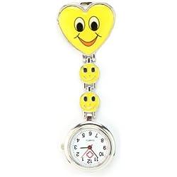 Fashion Smile Face Heart Brooch Clip Fob Nurse Tunic Quartz Pocket Watch Yellow