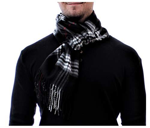 ADAMANT® 100% Kaschmir Schal Herren, verschiedene Farben, 180cm x 28cm - Modischer, echter Kaschmirschal für Business und Alltag (Schwarz BB)