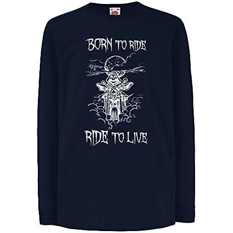 N4690D La camiseta de los niños con mangas largas Born To Ride! motorcycle clothing