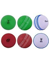 Kosma Coppa del Mondo Inghilterra e Galles 2019 Windball Practice Cricket Ball - Confezione da 6 - Colore: 2 Pezzi: Rosso con Cucitura Bianca, Verde con Cucitura Bianca, Bianco con Cucitura Blu