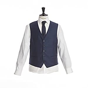 Barutti Weste Terzo AMF Royalblau feinste Struktur Tailored Fit taillierter Schnitt 100% Pure Wool Schurwolle Super 120S