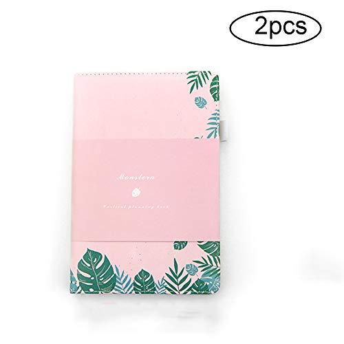 LKIHAH Hardcover Notizbuch,Kreatives Tagebuch Student Hand Account Niedliches Handbemaltes Notizbuch PU-Cover Notizbuch, Als Geschenk Geeignet(2pcs),Pink