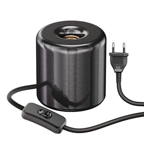 ledscom.de Tischlampe TIPO mit E27 Lampen-Fassung Porzellan rund schwarz -
