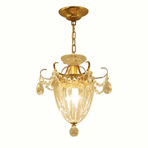 PIAOLING Französisch Kupfer Hängelampen, Luxus Kristall Kronleuchter, Glas Lampenschirm, Villa Eingang Gang Balkon dekorative Kronleuchter (Französisch Glas-kristall-kronleuchter)