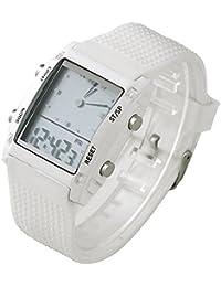 Better Dealz Dual-Display Militär Uhr Military Sportuhr Digital LED 6-Leucht Silikon Quarz Herren Armbanduhr Weiß