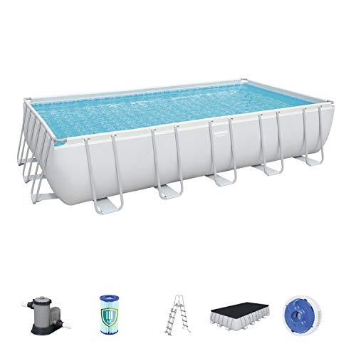 Bestway Frame Pool Power Steel, Set, hellgrau, rechteckig mit Filterpumpe und Zubehör, 671 x 366 x 132 cm, grau