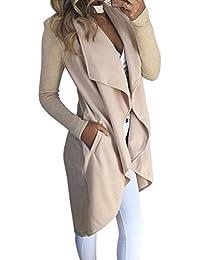 ECOWISH Damen Maxi Offene Cardigan Strickjacke Asymmetrisch Strickmantel Mantel mit Tasche