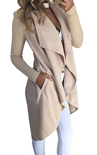 ECOWISH Damen Maxi Offene Cardigan Strickjacke Asymmetrisch Strickmantel Mantel mit Tasche Beige M