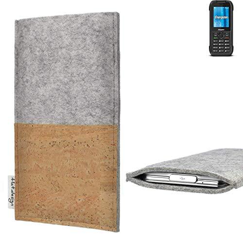 flat.design Handy Hülle Evora für Energizer H240S handgefertigte Handytasche Kork Filz Tasche Case fair grau