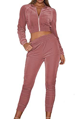 MAGIMODAC Damen Freizeitanzug Sportanzug Jogginganzug Sportjacke Jacke mit Reißverschluss Sporthose Hose mit Tunnelzug (Etikett M/EU 36-38, Rosa) (Rosa Jacke Damen)