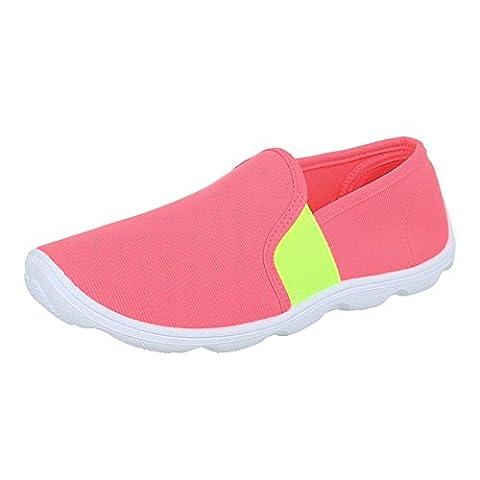 Damen Schuhe, C27-10, HALBSCHUHE, SLIPPER, Textil , Coral, Gr 38 (Kniehohe Slippers)