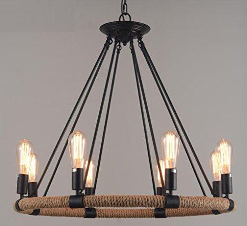 HAGDS Hanfseil Kronleuchter 6 Licht Loft antiken industriellen Stil Kronleuchter Deckenleuchte Bambus und attischen antiken industriellen Stil Kronleuchter Xuan (Home-source-bambus)