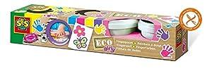 SES Creative Eco Pintura de Dedos Girly SES - Pintura Lavable para Pintar con Dedos (Multicolor, 4 Pieza(s), Azul, Rosa, Violeta, Amarillo, 110 ml, 440 ml, Alrededor)