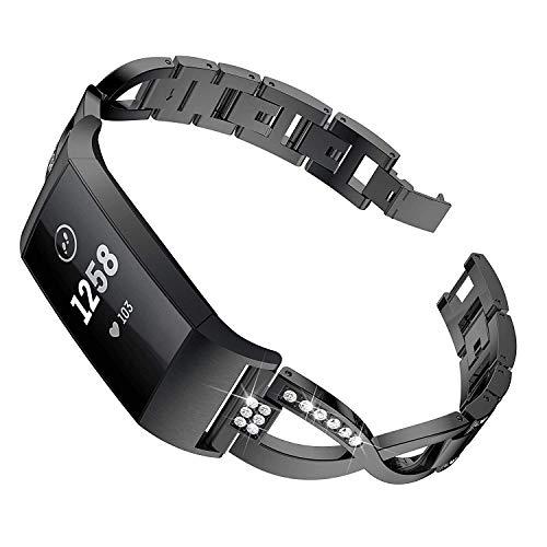 Reety kompatibel für Fitbit Charge 3 Strap, Edelstahl verstellbares Diamant X Kette Kreuz Zubehör für Fitbit Charge 3 & SE Strasssteine Schmuck für Frauen (Schwarz)