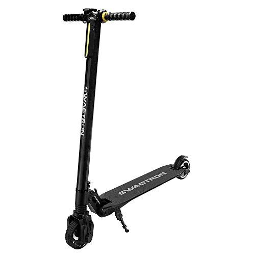 Swagtron Swagger Pro - Patinete eléctrico para adultos, con alcance ampliado, cuerpo de fibra de carbono ultraligera, diseño plegable, PRO-2, negro