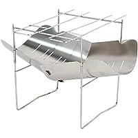 Soldmore7 - Barbacoa plegable de acero inoxidable para barbacoa, camping, senderismo, supervivencia al aire libre, etc.