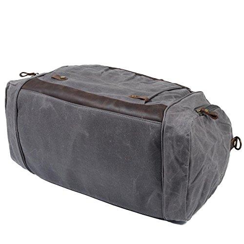 Neuleben Wasserdicht Sporttasche mit Schuhfach für Sport Fitness Reise Canvas Vintage Reisetasche mit 40L für Damen Herren Grau