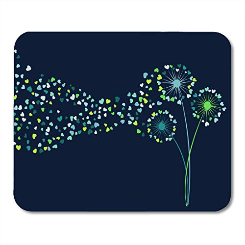 AOHOT Mauspads Blue Teal Green Dandelion Herbs Meadow Flowers Floral Tender Blowing Plant Heart Shaped Feather Flying Mouse Pad Mats 9.5