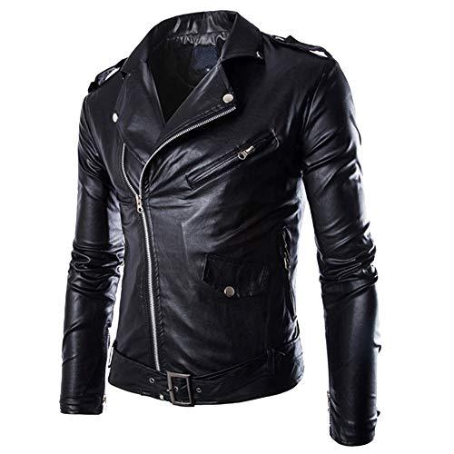 Sunnywill giacca da uomo con cerniera in vera pelle morbida vintage alla moda, casual, stile motociclista