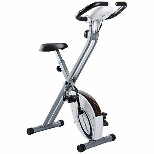 Ultrasport F-Bike, Fahrradtrainer, Heimtrainer, faltbares Fitnessfahrrad mit Trainingscomputer und Handpulssensoren, klappbar, Silber/Schwarz