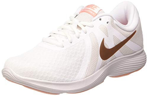 Nike Damen Women's Revolution 4 Running Shoe (eu) Traillaufschuhe, Weiß (White/MTLC Red Bronze-Vast Grey 102), 38
