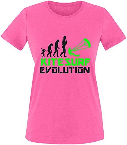 EZYshirt® Kitesurf Evolution Damen Rundhals T-Shirt Fuchsia/Schwarz/Neongr