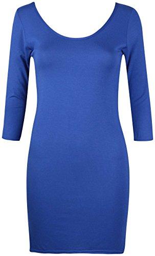 Damen U-ausschnitt Damen Stretch Kurzärmel Bodycon Lang Einfarbig Tunika T-Shirt Top Königsblau