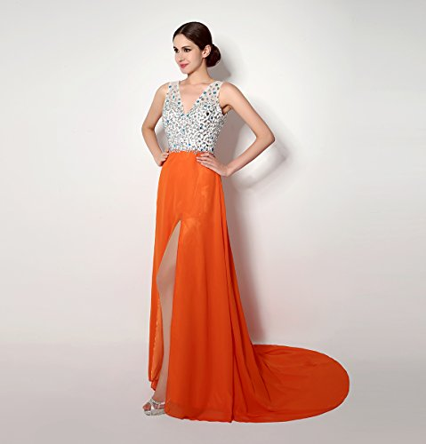 Bridal_Mall - Robe - Trapèze - Sans Manche - Femme Orange