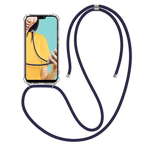 Winhoo Handykette Handyhülle mit Band Kompatibel mit Huawei P20 Lite Hülle Silikon und Hard Transparent Durchsichtig Necklace Schutzhülle Kratzfest Handyanhänger - Blau Hard Silikon