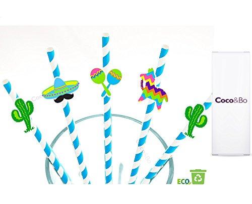 Coco & Bo-Mexikanische Fiesta Papier Trinkhalme-Party Zubehör-Margarita Cocktail Dekorationen