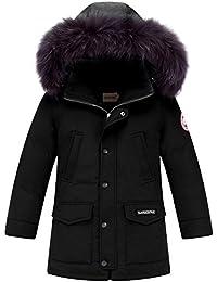 d61e2a2963cf LPATTERN Garçon Manteau d hiver Doudoune Mi-Longue Capuche Fausse Fourrure  Poches Enfant Parka